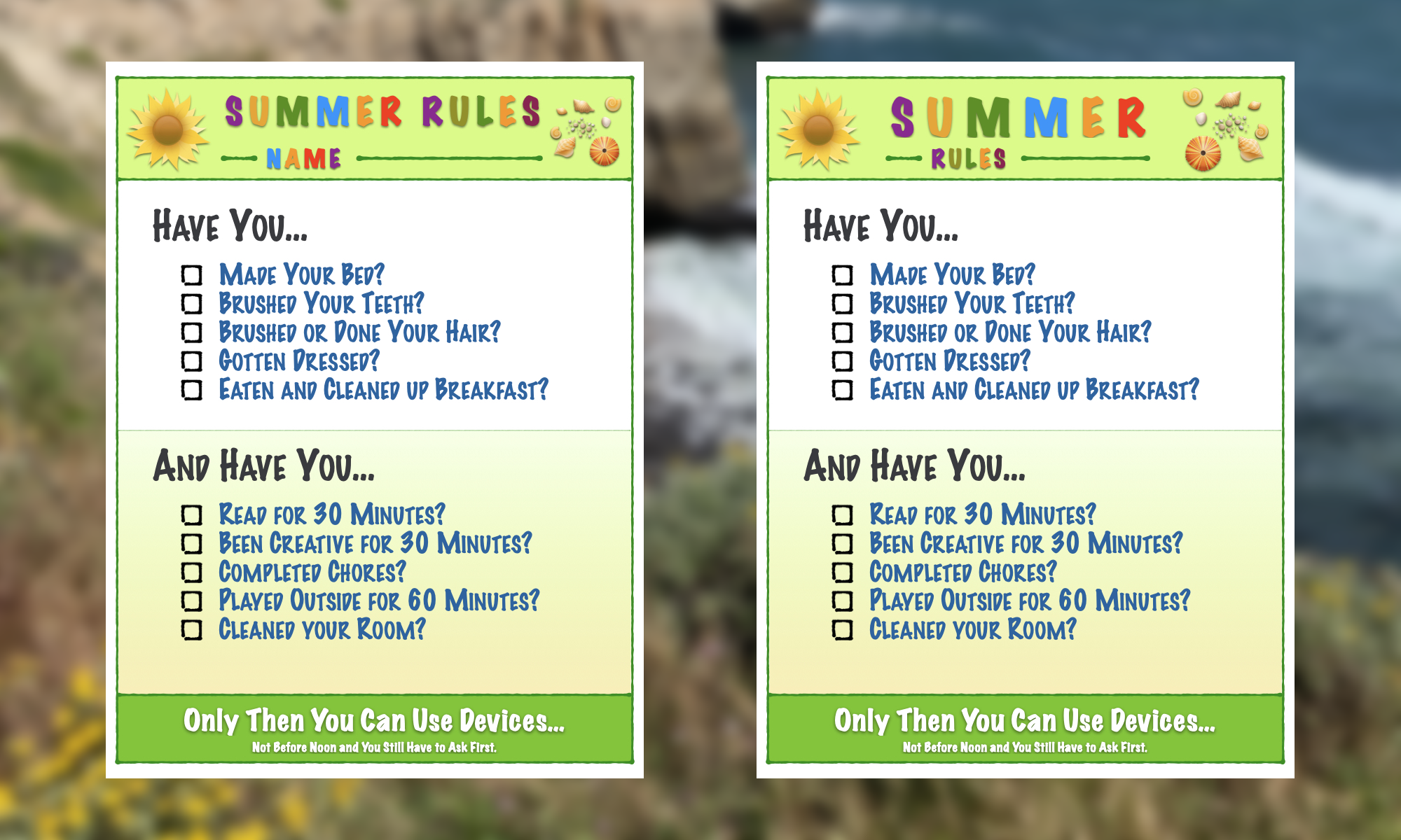 Summer Rules Blog